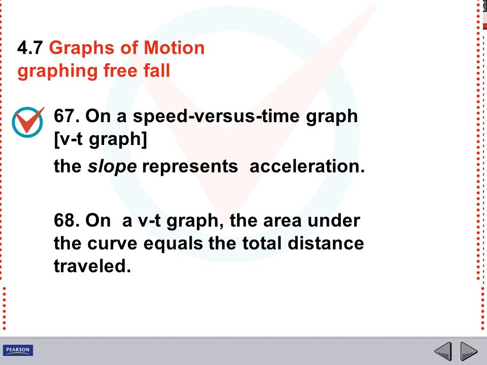 4.7 Graphs of Motion graphing free fall. 67. On a speed-versus-time graph [v-t graph] the slope represents acceleration.
